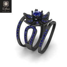 Classic Bridal Wedding Ring Set Jewelry Blue Sapphire Engagement Rings For Women - $1,149.99