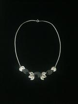 Vintage 60s Black Melamine and Silver Choker Necklace