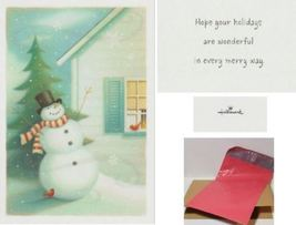 Christmas Greeting Card Snowman Red Bird Cardinal Hallmark - $5.99