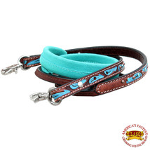 U-N116 HILASON  8ft LEATHER SUEDE COVERED HORSE TACK ROPING BARREL REINS TURQUOI - $24.99
