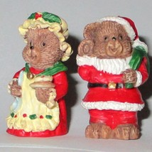 Mr & Mrs Santa Bear Christmas Figurines - $2.30