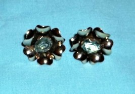 VINTAGE PAIR STERLING MARKED SCREW ON BACK EARRINGS WITH BLUE TOPAZ STONE - $33.87
