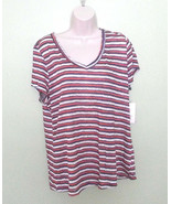 MAISON JULES red blue striped V neck short sleeve Casual  Top XL $29 - $8.91
