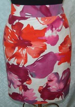 Ann Taylor Loft 8 Straight Skirt Bright Colorful Floral Flowers Silk Blend - $36.59