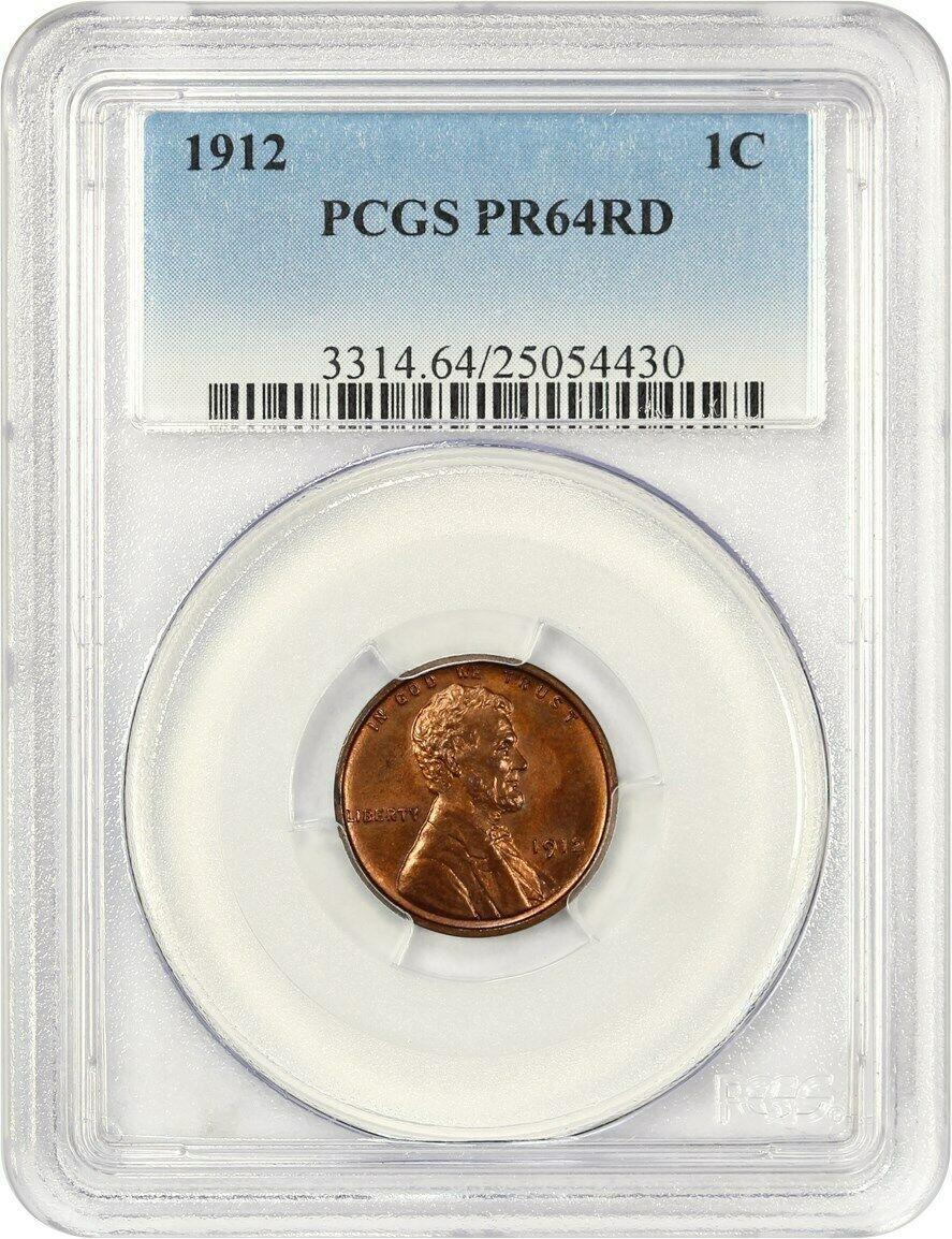 1912 1c PCGS PR 64 RD - Lincoln Cent - Scarce Matte Proof