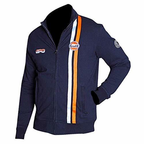Mens Steve McQueen Le Mans Grand Prix Gulf Navy Blue Biker Cotton Jacket
