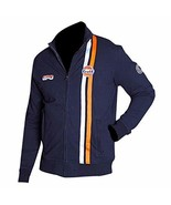 Mens Steve McQueen Le Mans Grand Prix Gulf Navy Blue Biker Cotton Jacket - $63.00
