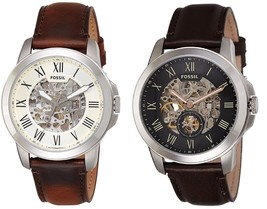 Fossil Men's Grant Automatic Skeleton Dial Leather Watch  - $125.00
