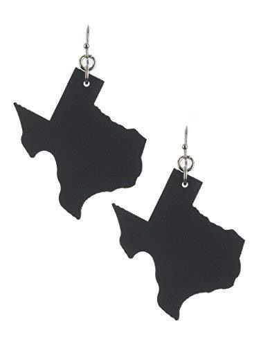 Light Weight State of Texas Dangle Earrings Faux Leather (Black)