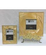 Picture Frames Yellow Enamel Swirl Rhinestone 3x3 & 2x3 Set 2 Display Stand - $24.74