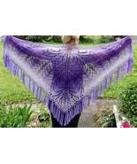 Akimova: KNITTED  SHAWL, purple gift - $70.00