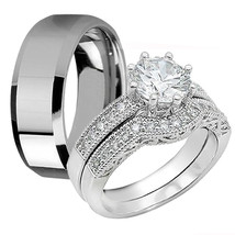 3 Pc His Stainles Steel Hers Sterling Silver CZ Wedding Engagement Ring ... - $32.99
