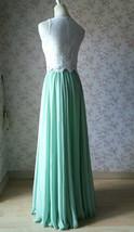 Two Piece Bridesmaid Dress Chiffon Skirt Sleeveless Crop Lace Top Green Wedding image 3