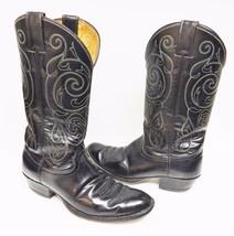Justin Men's Boots Western Cowboy Leather Composite Distressed Black 9 D... - $49.95
