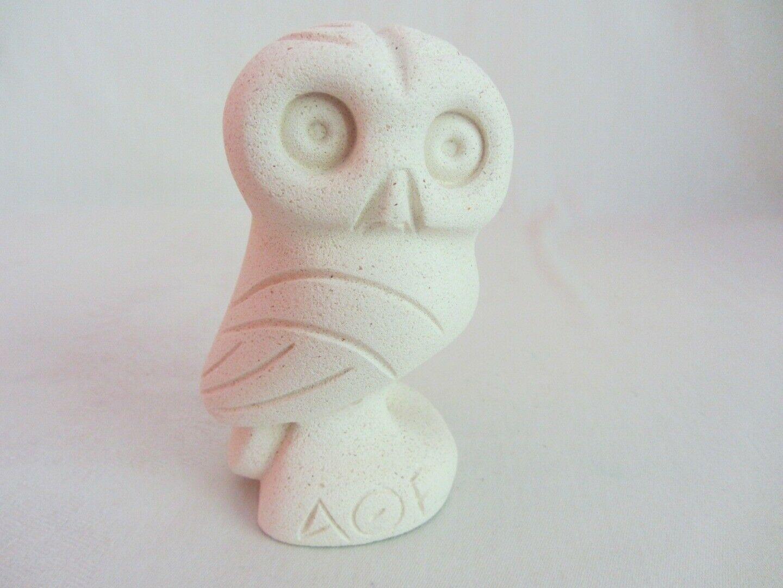 2 Vintage AOE Greek Owl of Alpha Theta Epsilon Figurine White Resin Plaster