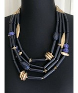 Chico's Hannah Blue And Gold Tone Beaded Multi Strand Adjustable Necklace - $34.64