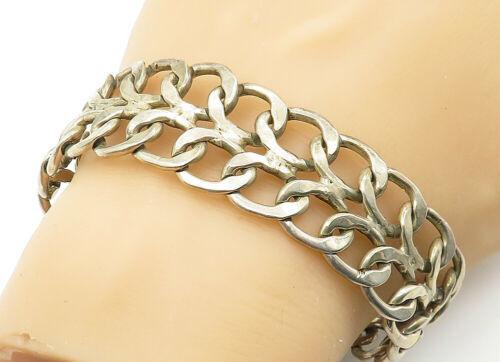 925 Sterling Silver - Vintage Open Swirl Linked Wide Chain Bracelet - B6234