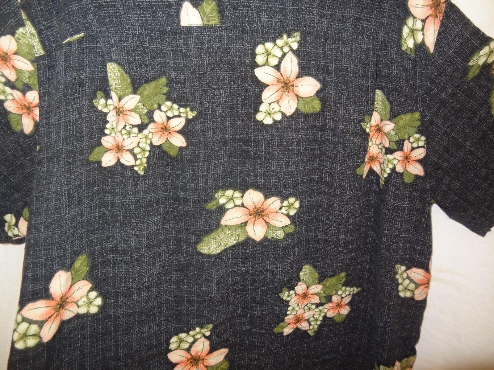 2dc0f425f Aloha Hawaiian Shirt Flowers Leaves Plaid Size 3XL 54 to 56 Black Pink  Puritan