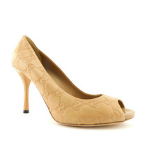 New GUCCI Size 7.5 Beige Guccissima GG Open Toe Heels Pumps Shoes 37.5 Eur - $259.00