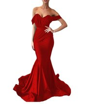 Women's Off the Shoulder Mermaid Evening Dresses Long Spandex Formal Party Gown image 5