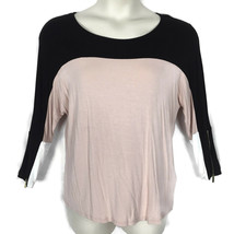 Calvin Klein Medium Black Pink Cream Top Color Block Zipper Sleeve Detail - $13.55