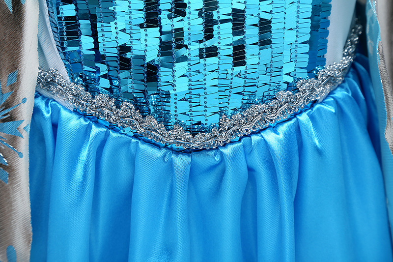 Shiny Frozen Pricess Flower Girl Dress Cosplay Sequins Long Sleeve  Halloween  image 5