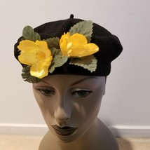 NWOT Size SM Vintage Beret Hat Cap Solid Black 100% Wool w/ Faux Yellow ... - $8.86