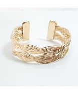 B0048 Bohemian Style Gold Tone Metal Twisted Wave Design Simple Cuff Bracelet - $7.99