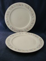 2 Dynasty Fine China Rapture Dinner Plates Pink White Blue Floral Grey S... - $15.00