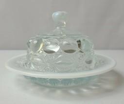 Mosser Glass Crystal Opalescent Heavy Glass Butter Dish - Eyewinker Pattern - $48.19