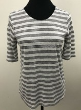 Target Who What Wear Womens Medium Shirt White Black Striped Crew Neck NWT - $14.73