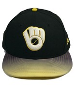 New Era 59 Fifty Men's Milwaukee Brewers Black Fitted Baseball Hat Cap S... - $21.77