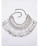 Coin necklace for women, Indian tribal necklace, boho necklace with meda... - $59.50