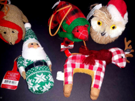 Lot 5 Country Christmas Ornament Fabric Santa Brown Bear Owl Red Plaid R... - $10.40