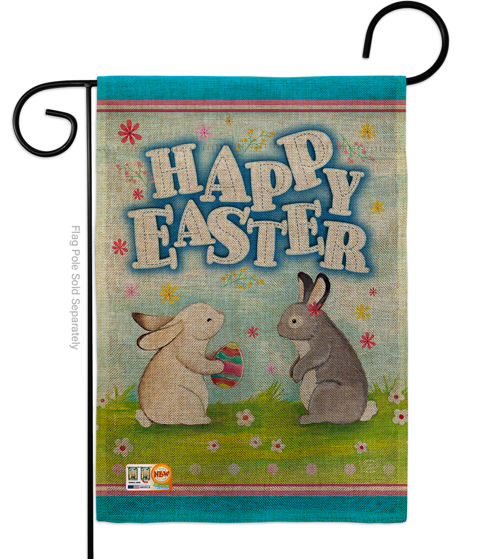 Primary image for Happy Easter Bunnys Lovely Egg Burlap - Impressions Decorative Garden Flag G1920
