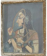 Vintage Early Print With Antique Original Framed Traditional Beautiful Lady - $123.98
