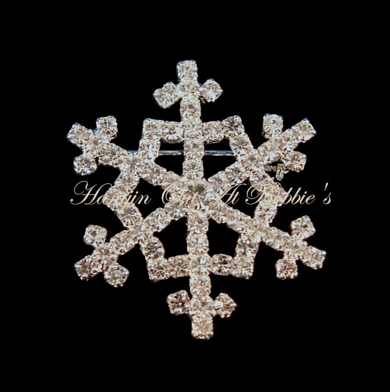 Primary image for Snowflake Pin Brooch Clear Crystal Silvertone Metal Winter Style 2018