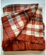 Vtg Acrylic Rust Plaid Blanket Nylon Trim Soft 70x86 Twin Cream Brown  - $81.18