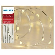 Philips 90ct Christmas LED Dewdrop String Fairy Lights Warm White Silver... - $14.99