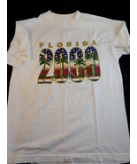 Vintage T-Shirt FLORIDA 2000 Size Medium White Cotton Shirt Beach Palm T... - $21.77