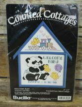 Vtg Bucilla Counted Cross Stitch Cottage Welcome Baby Linda Gillum 1994 33466 - $8.91