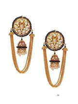 Lattest Kundan Earrings Bali Jhumka Jhumki Tops Jewelry Set Black Beautiful j250 - $29.69