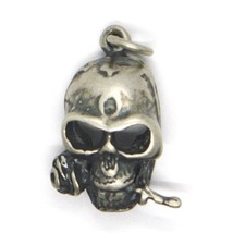 Silver Pendant 925, Burnished and Satin, Skull with Pink, Flower image 2