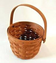 Longaberger Small Fruit Round Basket With Single Swing Handle 1992 Signed  - $17.77