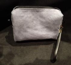 Clutch Bag/Wristlet/Makeup Bag Blue Floral Applique on Gray Faux Suede image 3
