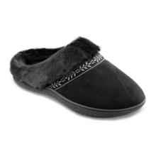 Isotoner Womens Black Microsuede Addie Memory Foam Hoodback Slippers 8.5-9 - $25.00