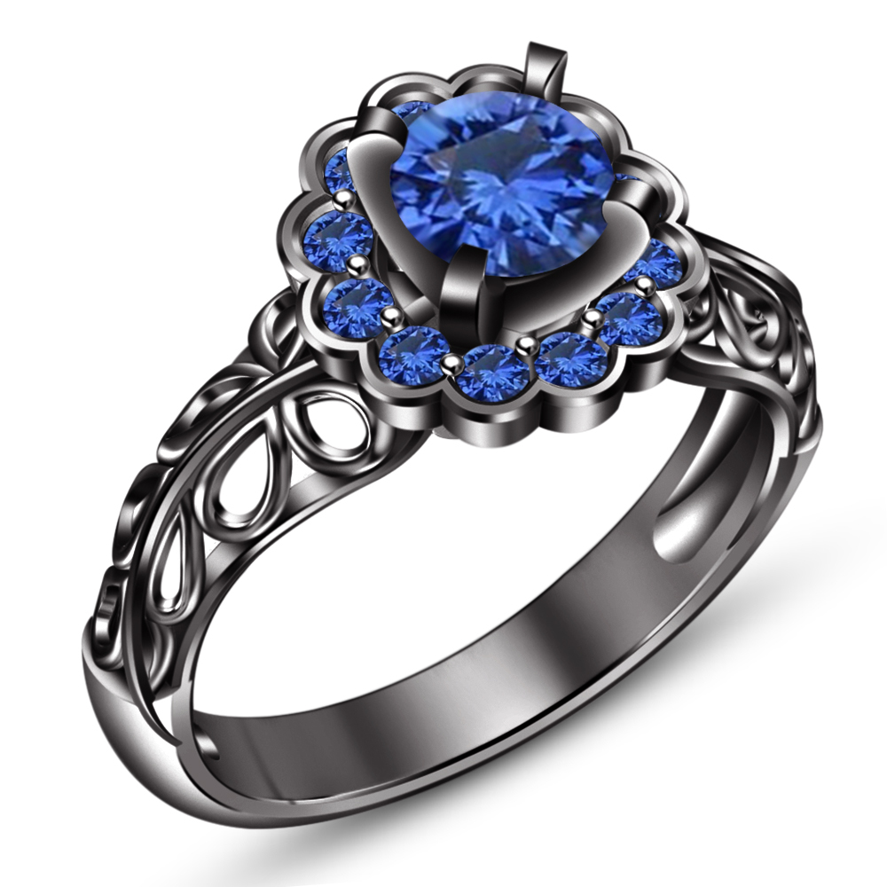 Round Cut Blue Sapphire 14k Black Gold Plated 925 Silver Bridal Wedding Ring Set