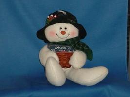 CHRISTMAS DECORATION Stuffed Snowmen with sign Snowmen Will Melt Your Heart - $12.99