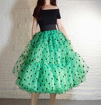 Royal Blue Polka Dot Tutu Skirt A-line Layered Puffy Midi Organza Tutu Skirt  image 9