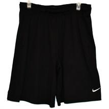 Nike Dri-Fit Men's Black Athletic Training Shorts White Swoosh Size L